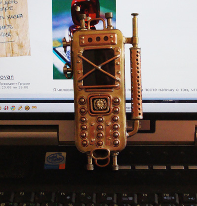 #steampunk #phone #design #brass, #chasing, #soldering and straight arms