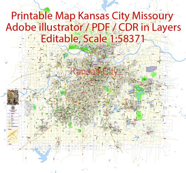 Printable Vector Map Kansas City, exact detailed City Plan, Scale 1:58371, editable Layered Adobe Illustrator Street Map, 13 Mb ZIP