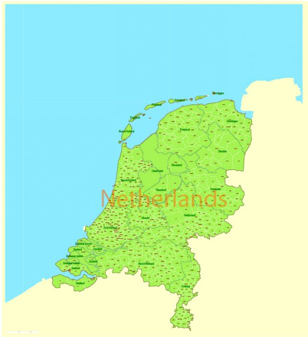 Admin Map Netherlands Printable Vector, exact Mercator Projection, editable Layered Adobe Illustrator, 10 Mb ZIP.