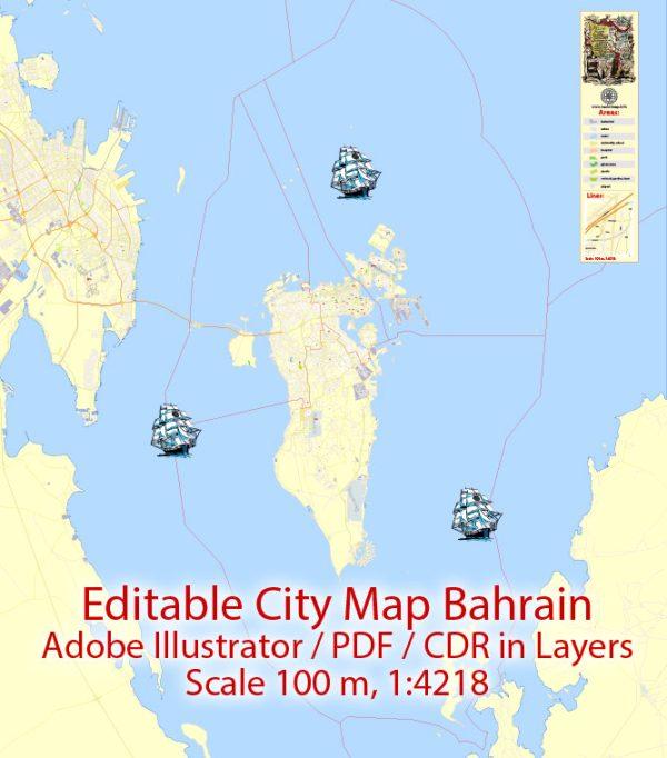 City Map Bahrain Vector Urban Plan Adobe Illustrator Editable Street Map