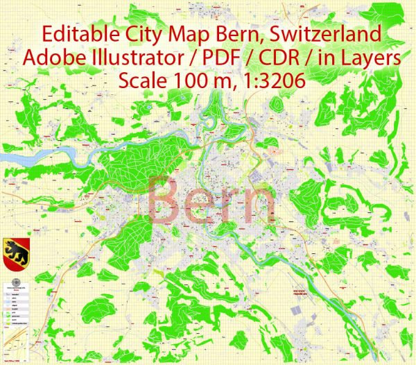 City Map Bern Vector Urban Plan Adobe Illustrator Editable Street Map