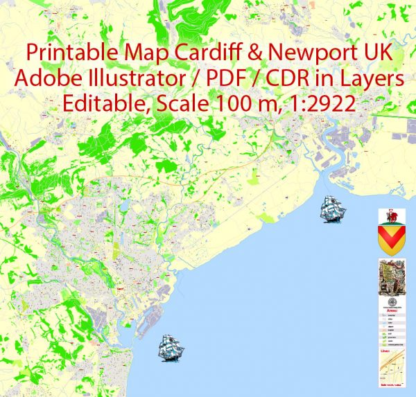 Printable Vector Map Cardiff + Newport Wales UK, exact detailed City Plan, Scale 1:2922, editable Layered Adobe Illustrator Street Map, 14 Mb ZIP