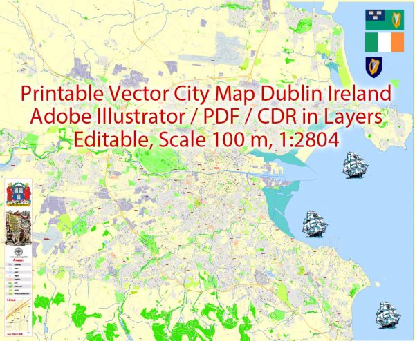 Printable Vector Map Dublin Ireland, exact detailed City Plan, Scale 1:2804, editable Layered Adobe Illustrator Street Map, 17 Mb ZIP