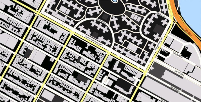 Printable Vector Map New York City US, exact vector City Planall Buildings scale 1:3556, full editable, Adobe Illustrator Street Maps