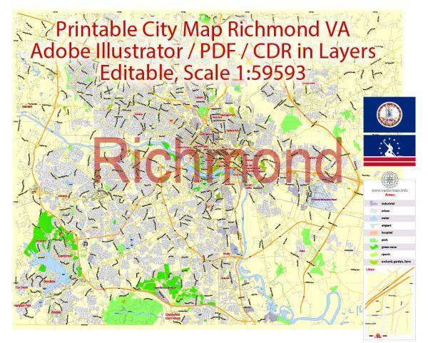 Printable VectorMap Richmond Virginia, exact detailed City Plan, Scale 1:59593, editable Layered Adobe Illustrator Street Map, 4MbZIP