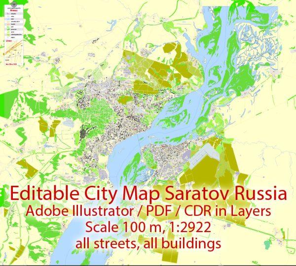 Саратов + Энгельс PDF векторная карта города подробная редактируемая в слоях Adobe PDF