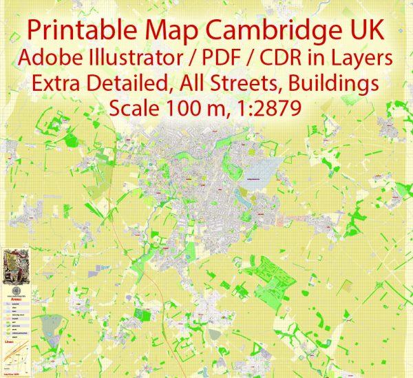 Printable VectorMap Cambridge UK, exact detailed City Plan all Buildings, Scale 1:2879, editable Layered Adobe Illustrator Street Map