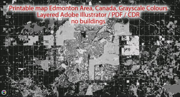 Printable Map Edmonton, Canada, exact  City Plan full editable, Adobe Illustrator, full vector, scalable, editable text format street names, 10 mb ZIP