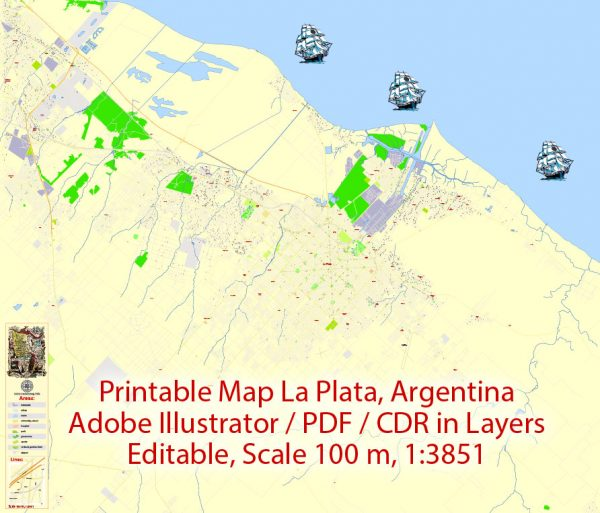 Printable VectorMap La Plata Argentina, exact detailed City Plan Street Map, scale 1:3851, editable Layered Adobe Illustrator, 9MbZIP