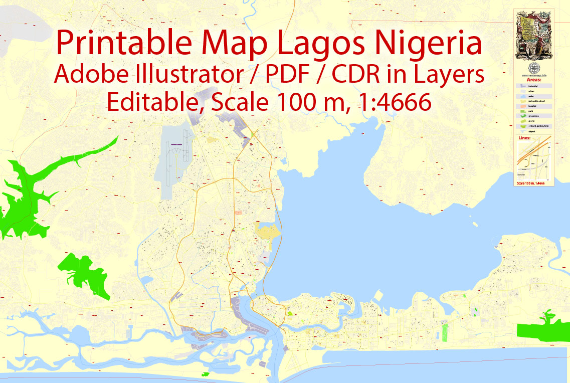 Printable VectorMap Lagos Nigeria, exact detailed City Plan Street Map, scale 1:466, editable Layered Adobe Illustrator, 15MbZIP. Allstreets named,main objects.