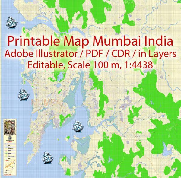 Printable VectorMap Mumbai India, exact detailed City Plan, Scale 1:4438, editable Layered Adobe Illustrator Street Map, 14MbZIP. Allstreets named, main objects