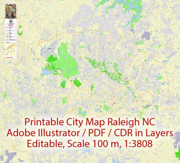 Printable Vector Map Raleigh NC, exact vector City Plan scale 1:3808, full editable, Adobe Illustrator Street Map