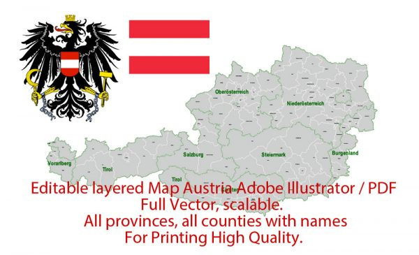 Austria Map Administrative Vector Adobe Illustrator Editable PDF Provinces Counties