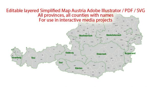 Austria Map Administrative Vector Adobe Illustrator Editable PDF SVG simplified Provinces Counties