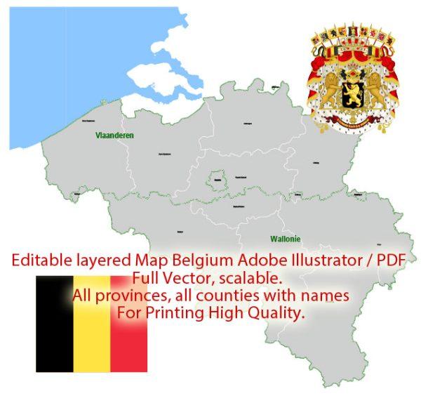 Belgium Map Administrative Vector Adobe Illustrator Editable PDF Provinces Counties