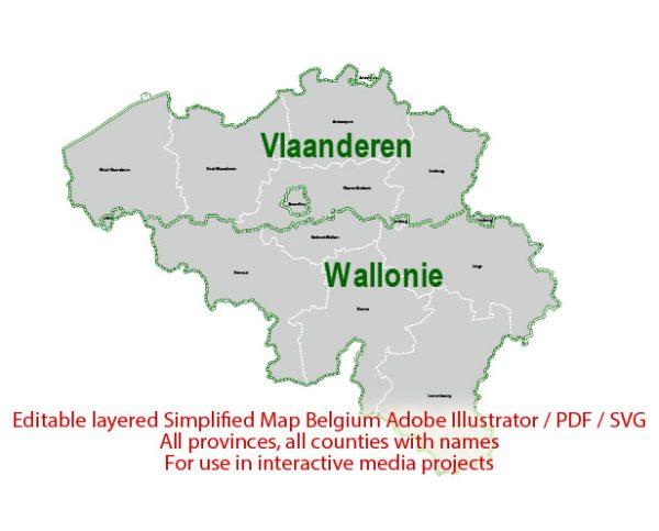 Belgium Map Administrative Vector Adobe Illustrator Editable PDF SVG simplified Provinces Counties