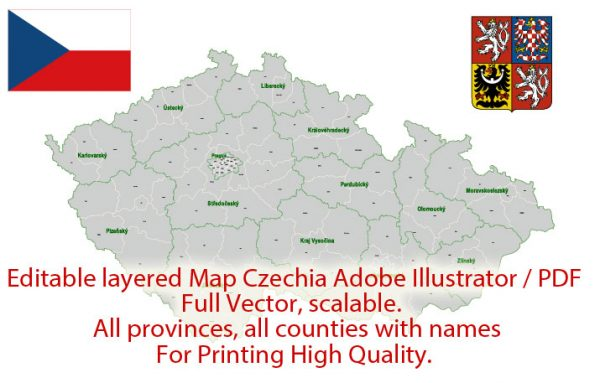 Czech Republic Map Administrative Vector Adobe Illustrator Editable PDF Provinces Counties