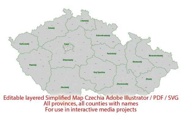 Czech Republic Map Administrative Vector Adobe Illustrator Editable PDF SVG simplified Provinces Counties