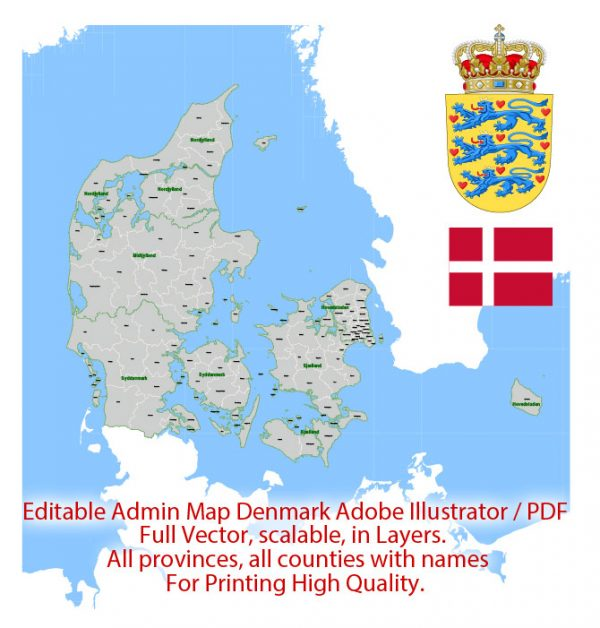 Denmark Map Administrative Vector Adobe Illustrator Editable PDF Provinces Counties