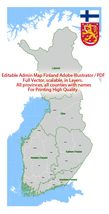Administrative Vector Map Finland Adobe Illustrator PDF layers Editable Provinces Counties