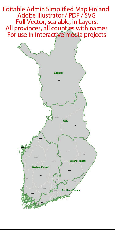 Finland Map Administrative Vector Adobe Illustrator Editable PDF SVG simplified Provinces Counties