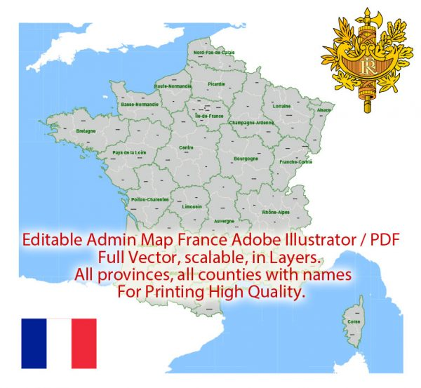 France Map Administrative Vector Adobe Illustrator Editable PDF Provinces Counties