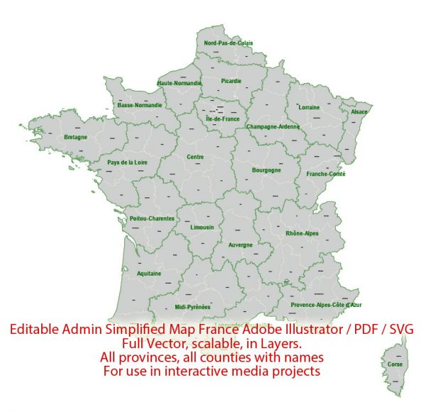 France Map Administrative Vector Adobe Illustrator Editable PDF SVG simplified Provinces Counties