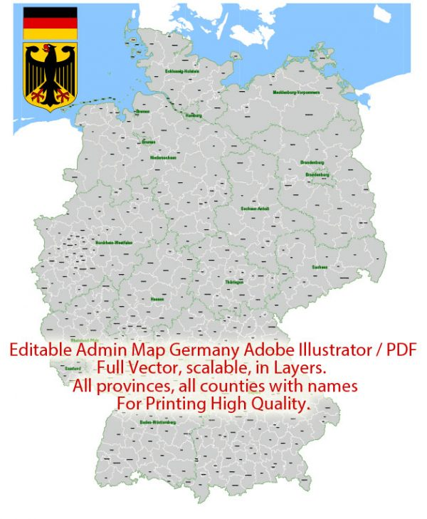 Germany Map Administrative Vector Adobe Illustrator Editable PDF Provinces Counties for publishing, design, media, presentations, for High Quality Printing
