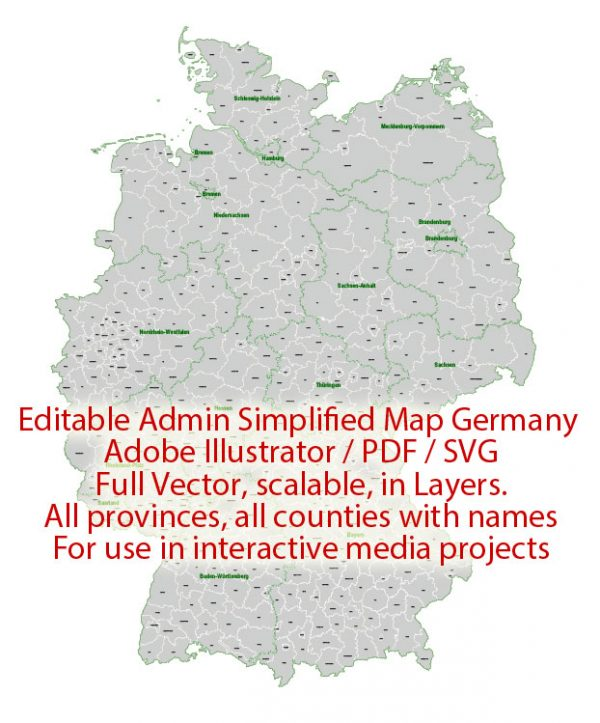 Germany Map Administrative Vector Adobe Illustrator Editable PDF SVG simplified Provinces Counties