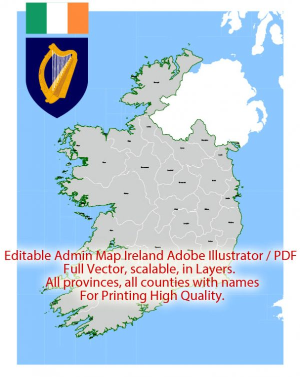 Ireland Map Administrative Vector Adobe Illustrator Editable PDF Provinces Counties for publishing, design, media, projects, presentations, for High Quality Printing