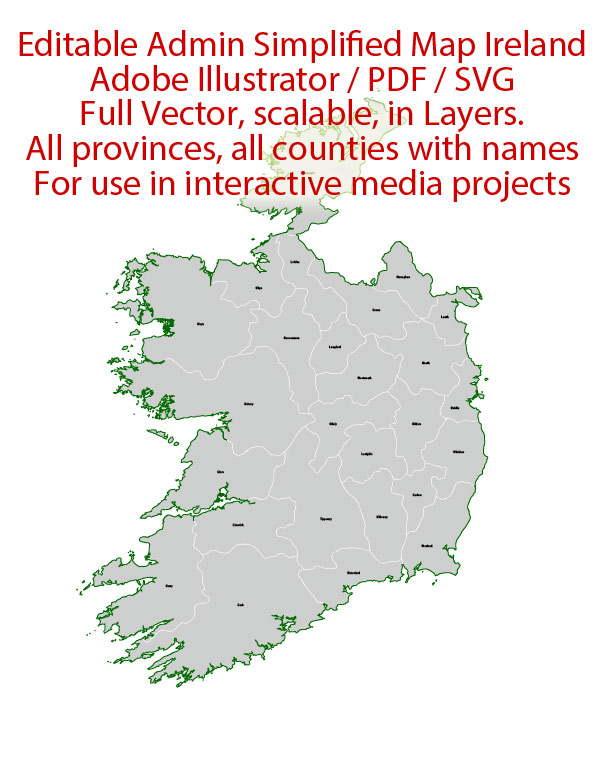 Ireland Map Administrative Vector Adobe Illustrator Editable PDF SVG simplified Provinces Counties for use in the interactive media projects special edition