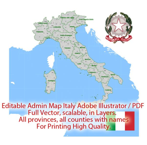 Italy Map Administrative Vector Adobe Illustrator Editable PDF Provinces Counties for publishing, design, media, projects, presentations, for High Quality Printing