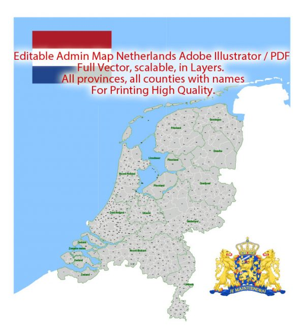 Netherlands Map Administrative Vector Adobe Illustrator Editable PDF Provinces Counties