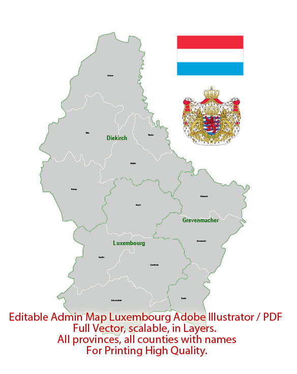Luxembourg Map Administrative Vector Adobe Illustrator Editable PDF Provinces Counties