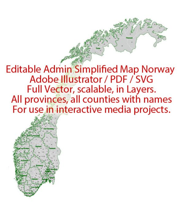 Norway Map Administrative Vector Adobe Illustrator Editable PDF SVG simplified Provinces Counties