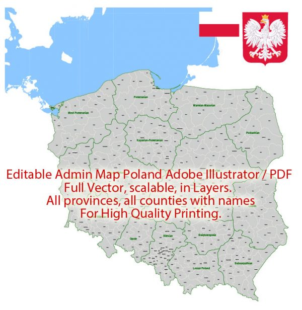 Poland Map Administrative Vector Adobe Illustrator Editable PDF Provinces Counties