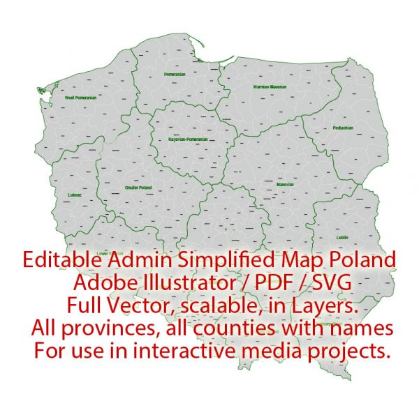 Poland Map Administrative Vector Adobe Illustrator Editable PDF SVG simplified Provinces Counties