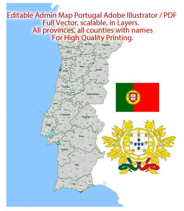 Portugal Map Administrative Vector Adobe Illustrator Editable PDF Provinces Counties