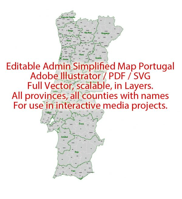 Portugal Map Administrative Vector Adobe Illustrator Editable PDF SVG simplified Provinces Counties