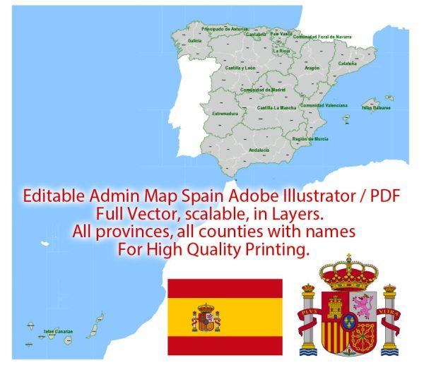 Spain Map Administrative Vector Adobe Illustrator Editable PDF Provinces Counties