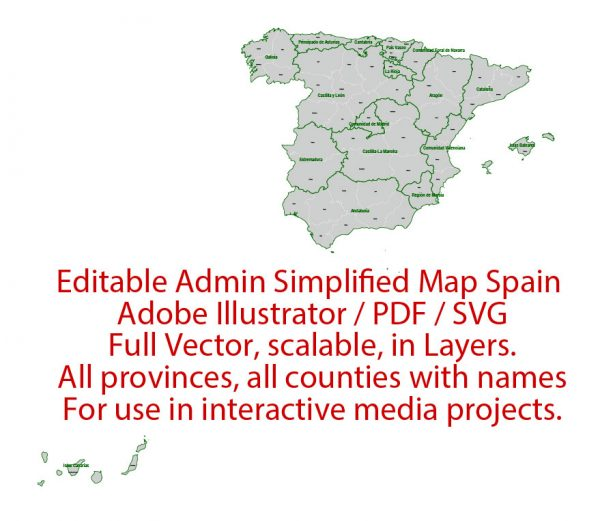 Spain Map Administrative Vector Adobe Illustrator Editable PDF SVG simplified Provinces Counties