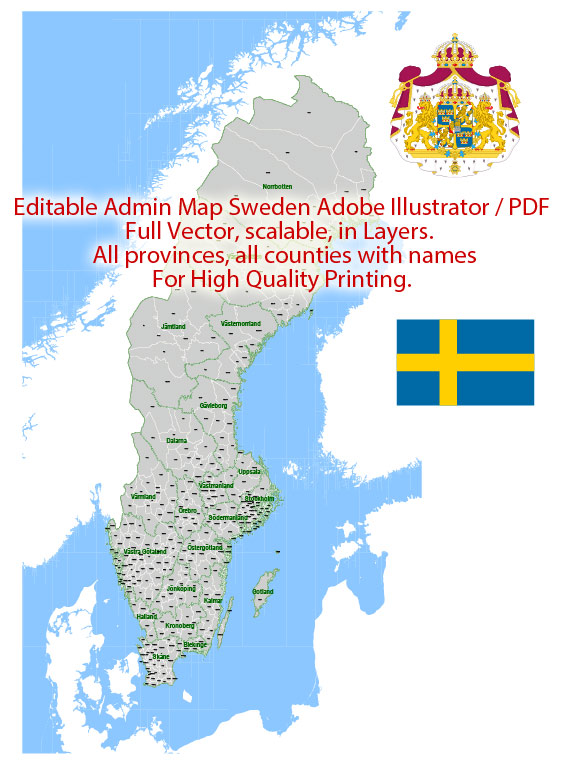 Sweden Map Administrative Vector Adobe Illustrator Editable PDF Provinces Counties