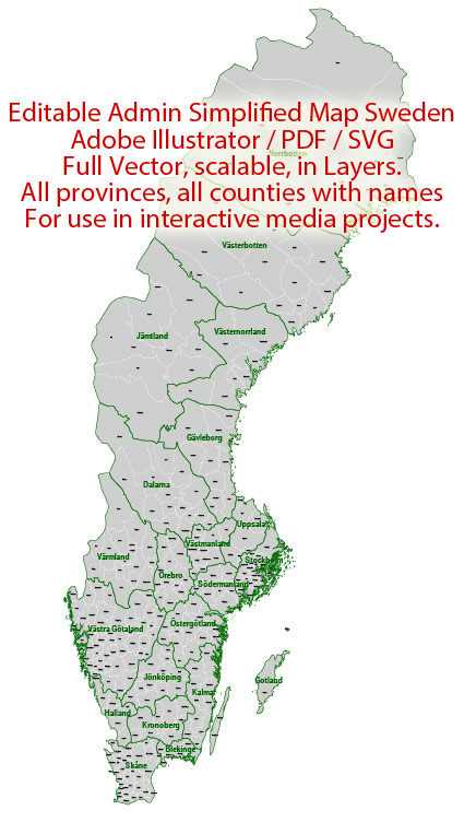 Sweden Map Administrative Vector Adobe Illustrator Editable PDF SVG simplified Provinces Counties