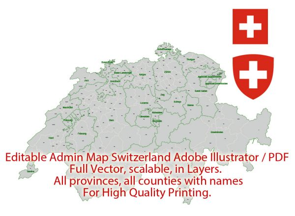 Switzerland Map Administrative Vector Adobe Illustrator Editable PDF Provinces Counties