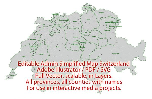 Switzerland Map Administrative Vector Adobe Illustrator Editable PDF SVG simplified Provinces Counties