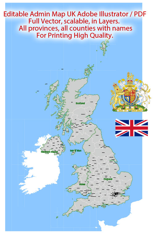 UK Great Britain Map Administrative Vector Adobe Illustrator Editable PDF Provinces Counties