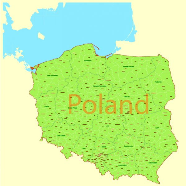 Printable Vector Map Poland Admin, exact Mercator Projection, editable Layered Adobe Illustrator, 3 Mb ZIP