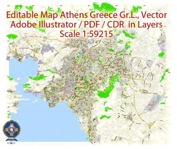 Printable Vector Map Athens + Pireas, Greece, exact City Plan 2000 meters scale Street Map, Greek, fully editable, Adobe Illustrator,  scalable, editable text format all names, 9 Mb ZIP