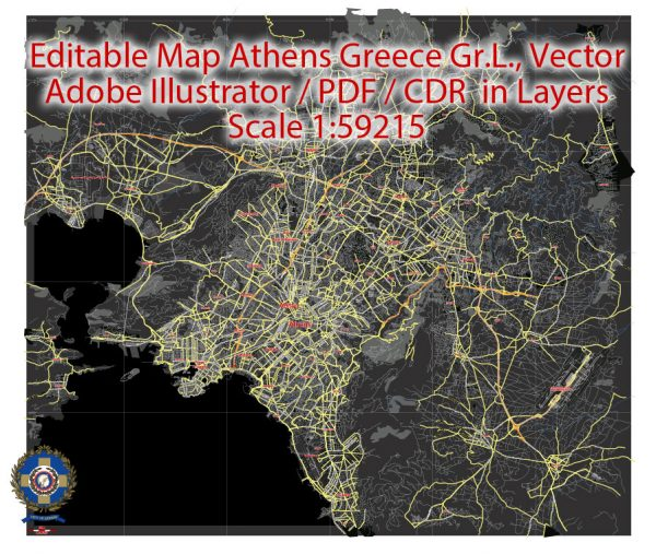 Printable Vector Map Athens + Pireas BW, Greece, exact City Plan 2000 meters scale Street Map, Greek, fully editable, Adobe Illustrator