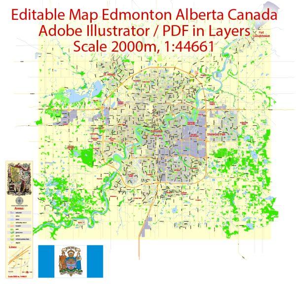 Printable Vector Map Edmonton, 2 km scale Street Map editable City Plan, Adobe Illustrator